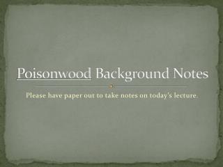 Poisonwood  Background Notes