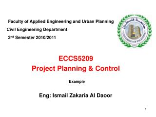 ECCS5209 Project Planning & Control
