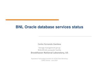 BNL Oracle database services  status