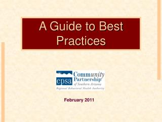 A Guide to Best Practices