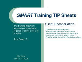 SMART  Training TIP Sheets