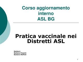Corso aggiornamento interno ASL BG