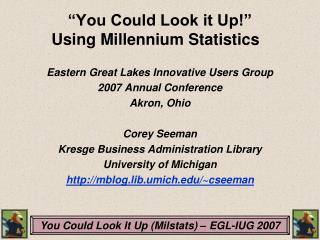 �You Could Look it Up!�  Using Millennium Statistics