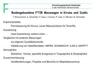 Bodengebundene FTIR Messungen in Kiruna und  Izaña