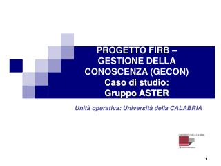PROGETTO FIRB – GESTIONE DELLA CONOSCENZA (GECON) Caso di studio:  Gruppo ASTER