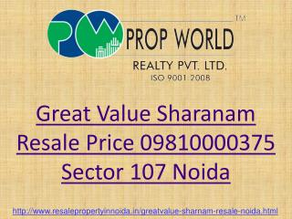 Great Value Sharanam Resale Price Flats Noida Sector 107, Re