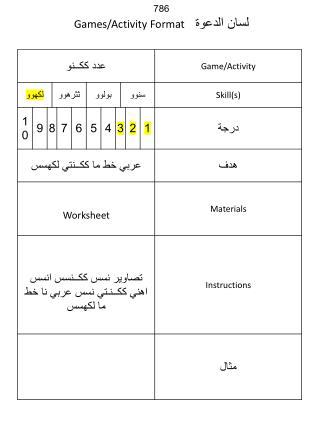 786 لسان الدعوة   Games/Activity Format