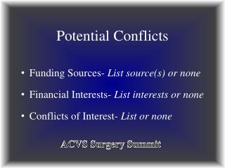 Potential Conflicts