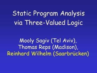 Static Program Analysis via Three-Valued Logic