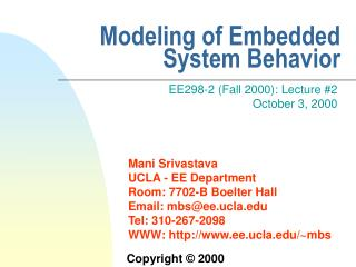Modeling of Embedded System Behavior