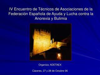 Organiza: ADETAEX Cáceres, 27 y 28 de Octubre 06