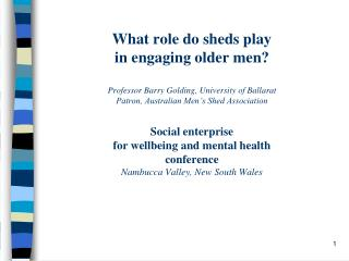 What role do sheds play  in engaging older men?