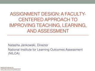 BUILDING YOUR OWN TEACHING, LEARNING, ASSESSMENT AND FEEDBACK PORTFOLIO