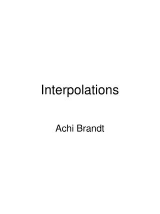 Interpolations