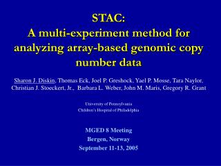 STAC: A multi-experiment method for analyzing array-based genomic copy number data