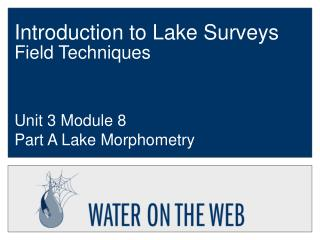 Introduction to Lake Surveys Field Techniques
