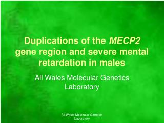 Duplications of the  MECP2  gene region and severe mental retardation in males