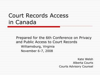 Court Records Access  in Canada