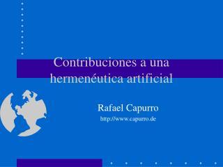 Contribuciones a una hermenéutica artificial