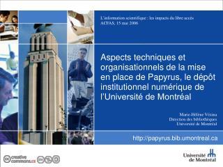 Marie-Hélène Vézina Direction des bibliothèques Université de Montréal