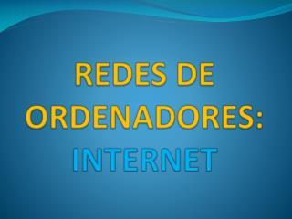 REDES DE ORDENADORES: INTERNET