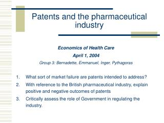 Patents and the pharmaceutical industry