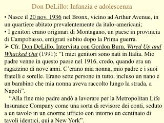 Don DeLillo: Infanzia e adolescenza