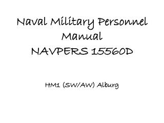 Naval Military Personnel Manual NAVPERS 15560D