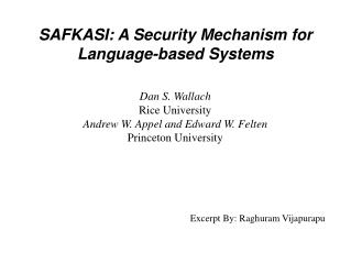 SAFKASI: A Security Mechanism for Language-based Systems