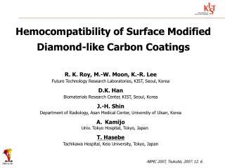 Hemocompatibility of Surface Modified Diamond-like Carbon Coatings