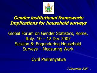 Gender institutional framework:  Implications for household surveys