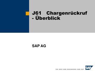 J61   Chargenrückruf  - Überblick