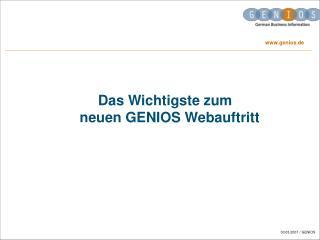 Das Wichtigste zum neuen GENIOS Webauftritt
