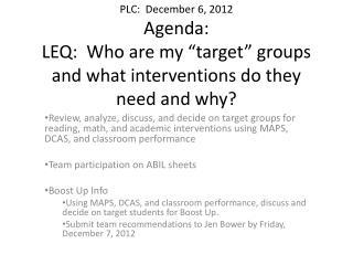 PLC Dec 6th agenda