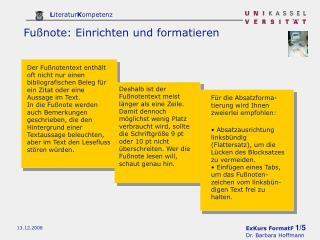 Fußnote: Einrichten und formatieren