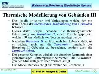 Thermische Modellierung von Gebäuden  III