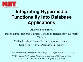 Integrating Hypermedia Functionality into Database Applications