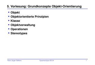 5. Vorlesung: Grundkonzepte Objekt-Orientierung