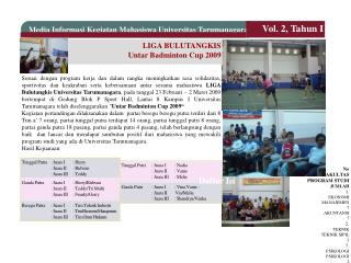 LIGA BULUTANGKIS Untar Badminton Cup 2009