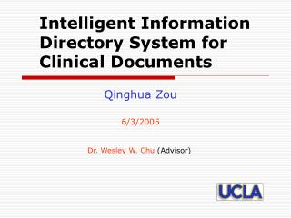 Intelligent Information Directory System for Clinical Documents