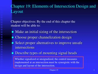 Chapter 19: Elements of Intersection Design and Layout