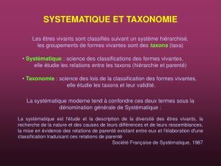 SYSTEMATIQUE ET TAXONOMIE