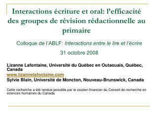 Interactions écriture et oral: l'efficacité des groupes de révision rédactionnelle au primaire