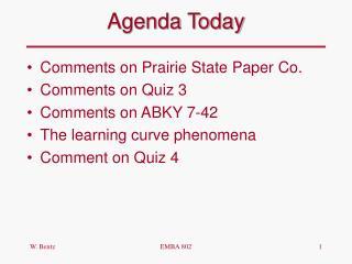 Agenda Today