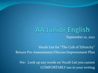 AA Junior English