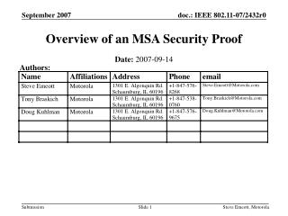 Overview of an MSA Security Proof
