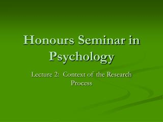 Honours Seminar in Psychology