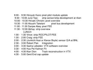 9:00 -  9:30 Hiroyuki Kano:pixel pilot module update