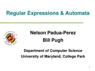 Regular Expressions & Automata