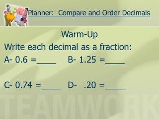 Planner:  Compare and Order Decimals